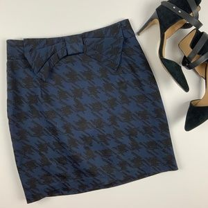 Houndstooth Bow Mini Skirt Forever 21 Blue Black